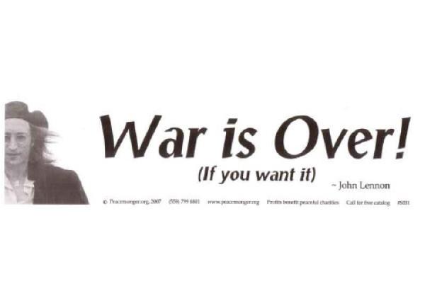 """PC170 Peacemonger """"War is over"""" Bumper Sticker"""